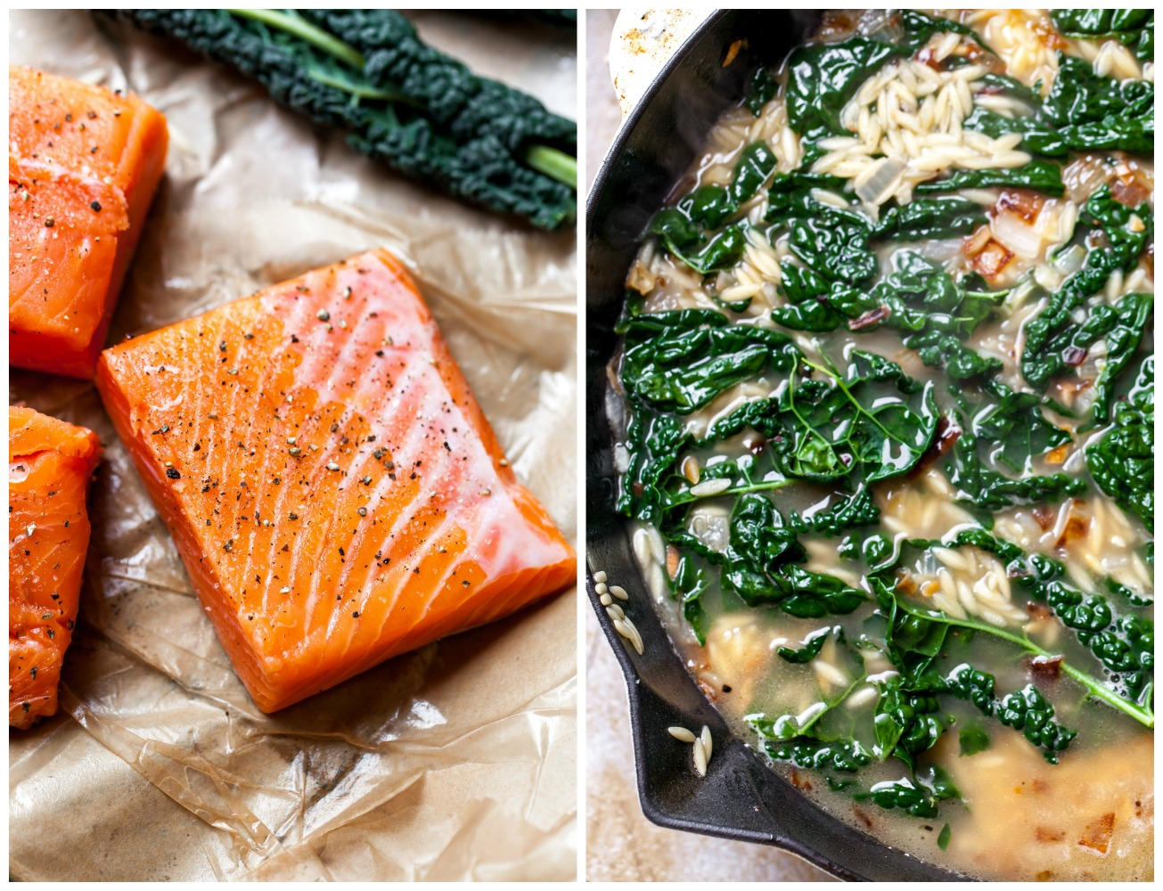 In-process view of seasoned salmon and orzo in a skillet