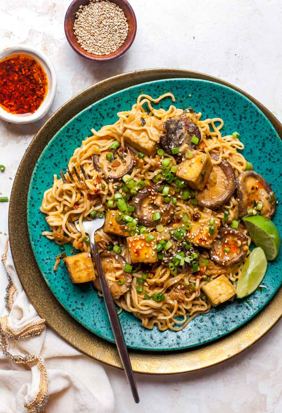 Homemade ramen noodles with sesame sauce and crispy tofu