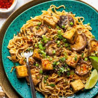 Ramen noodles with crispy tofu and creamy tahini sauce