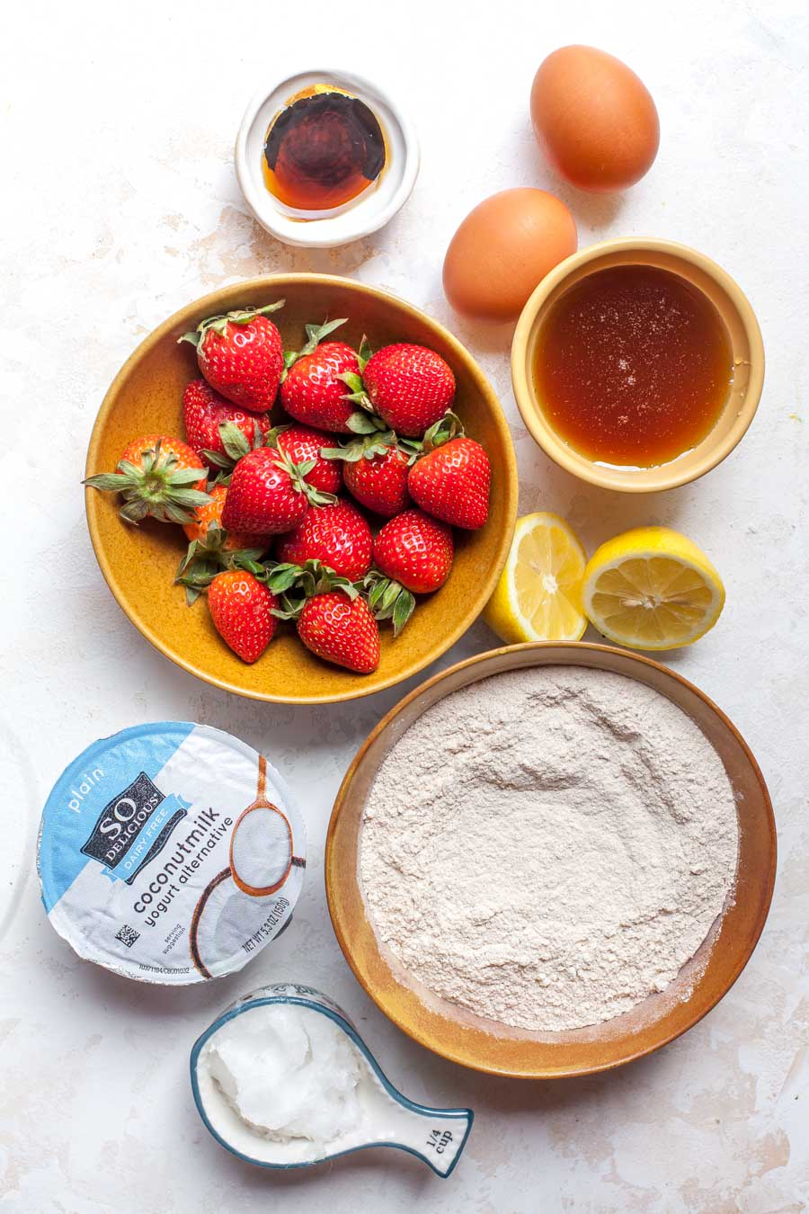 Ingredients for strawberry lemon bread