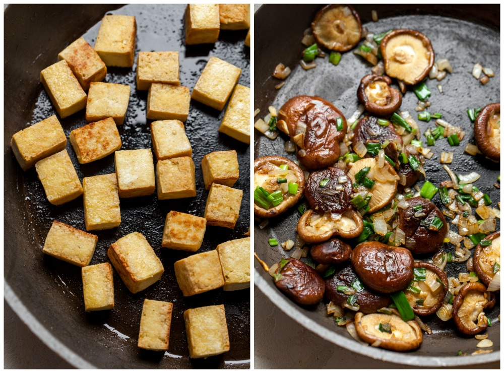 In-process images showing crispy tofu and sautéed mushrooms