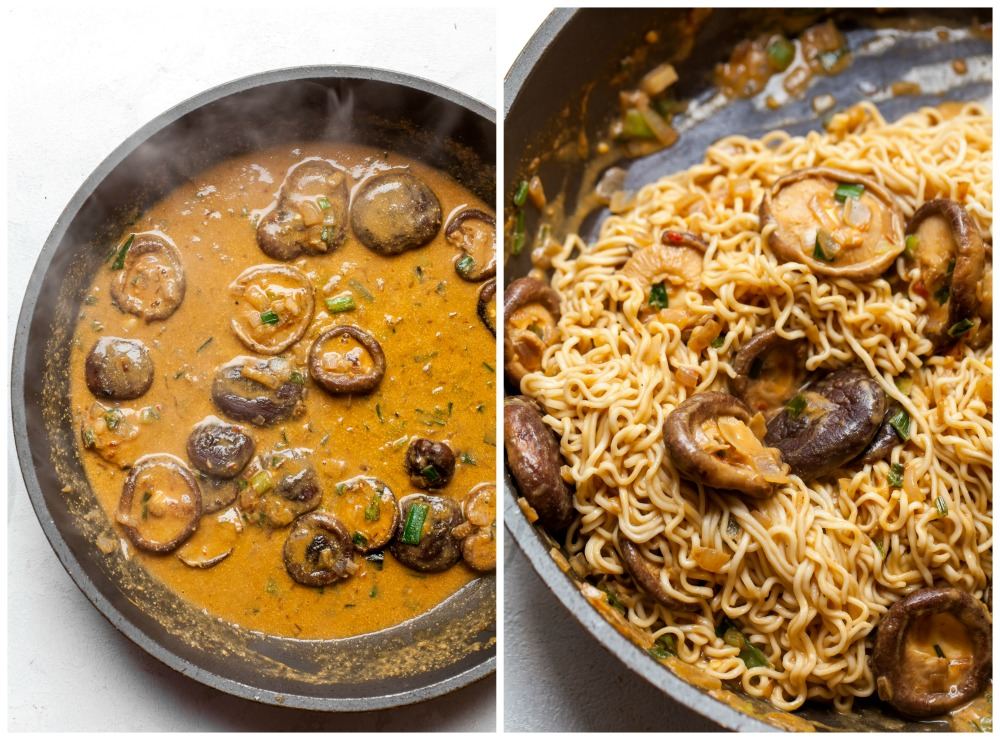 Side-by-side images showing how to make sesame sauce