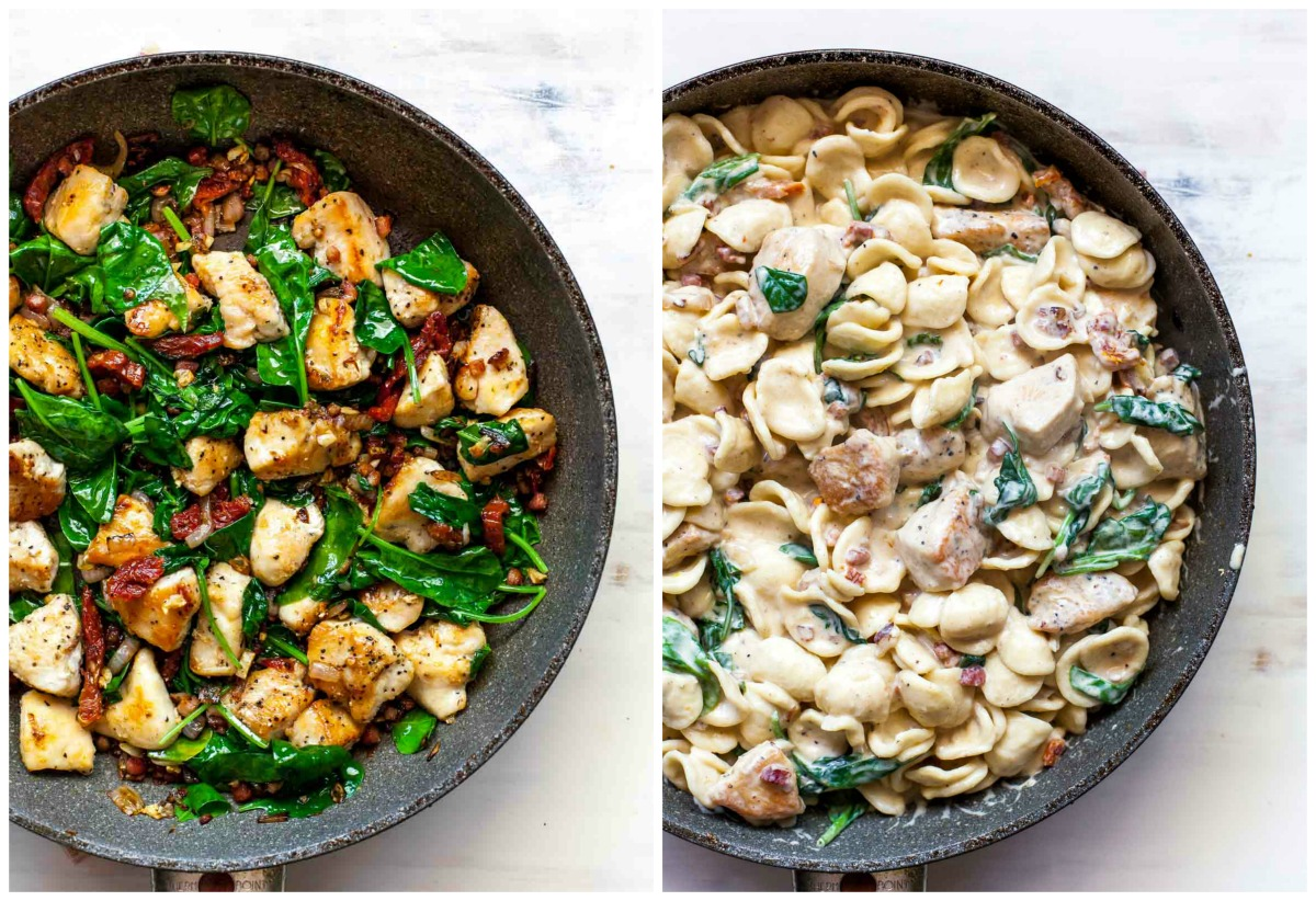 Chicken, spinach, and pancetta in a skillet with florentine sauce being added
