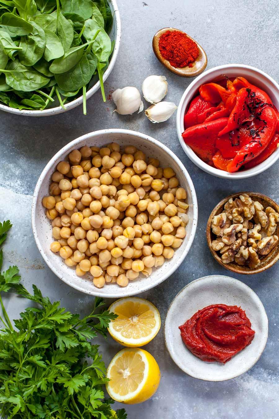 Muhammara Chickpea ingredients in bowls