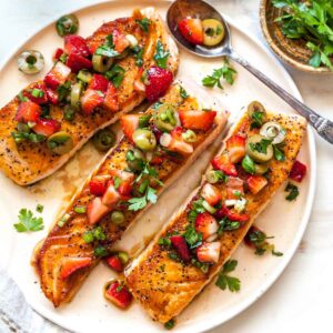 Salmon with Strawberry-Scallion Tapenade