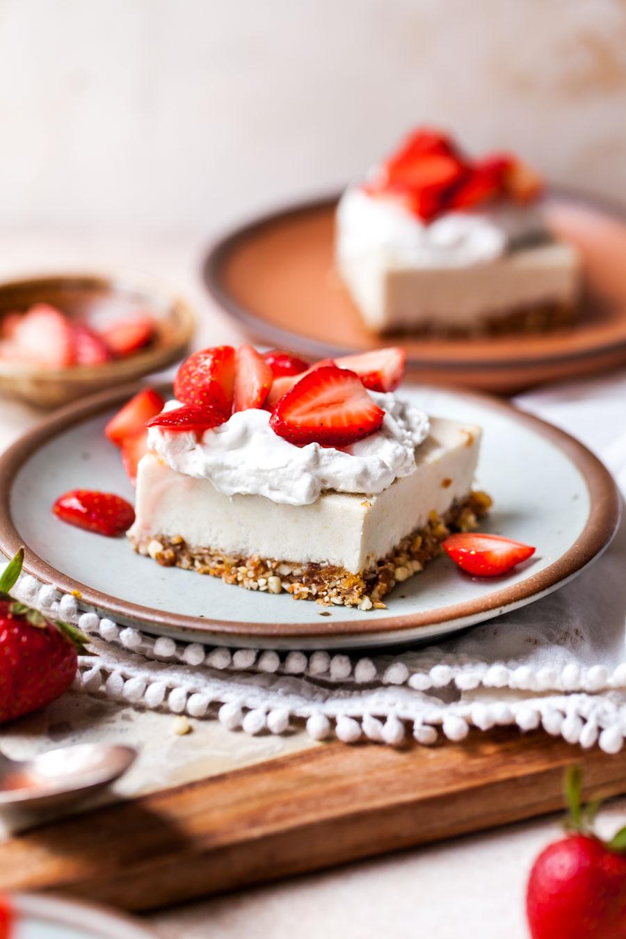 Dairy-free cheesecake bar with strawberries