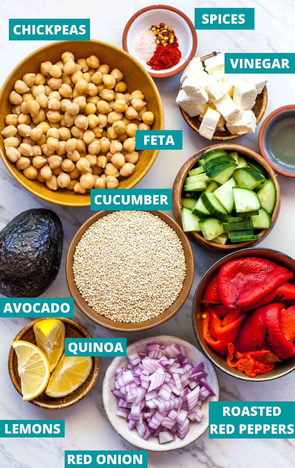 Quinoa, chickpeas, cucumber, red onion, red peppers, and spices in separate bowls with ingredient labels