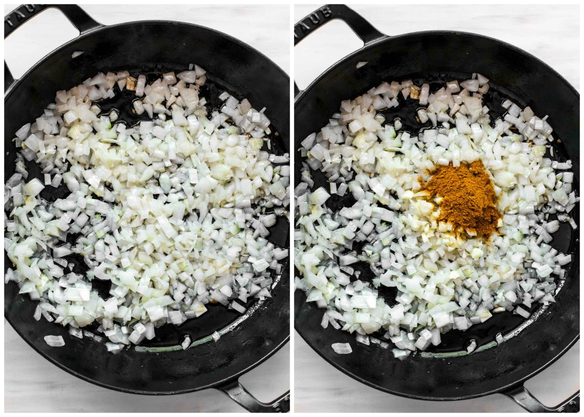 Chopped onion in a large skillet with garlic and curry powder being added