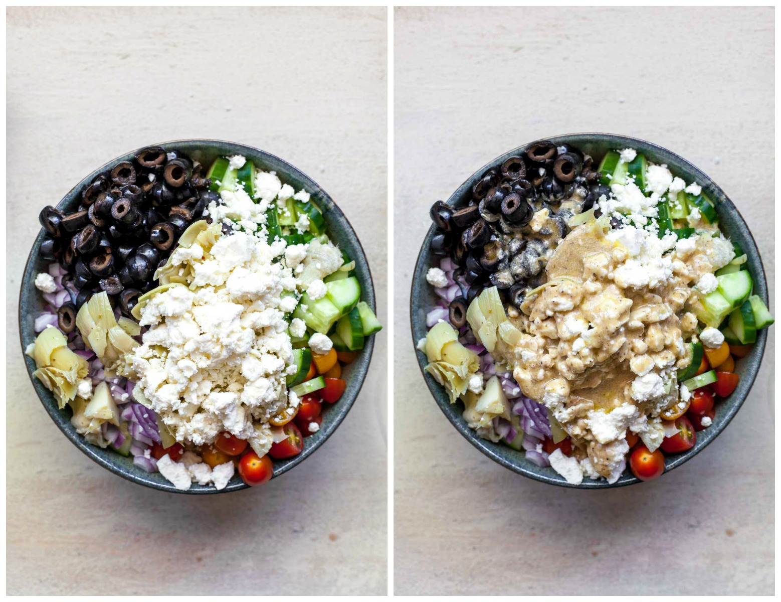 Side-by-side Greek pasta salads showing without dressing vs with dressing