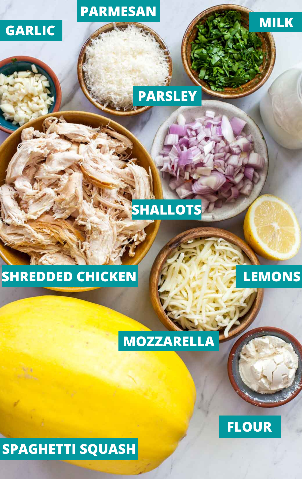 Recipe ingredients (including spaghetti squash, shredded chicken, cheese, parsley, and shallots) in separate bowls with ingredient labels