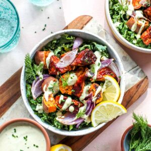 BBQ tempeh bowls with sunflower seed ranch