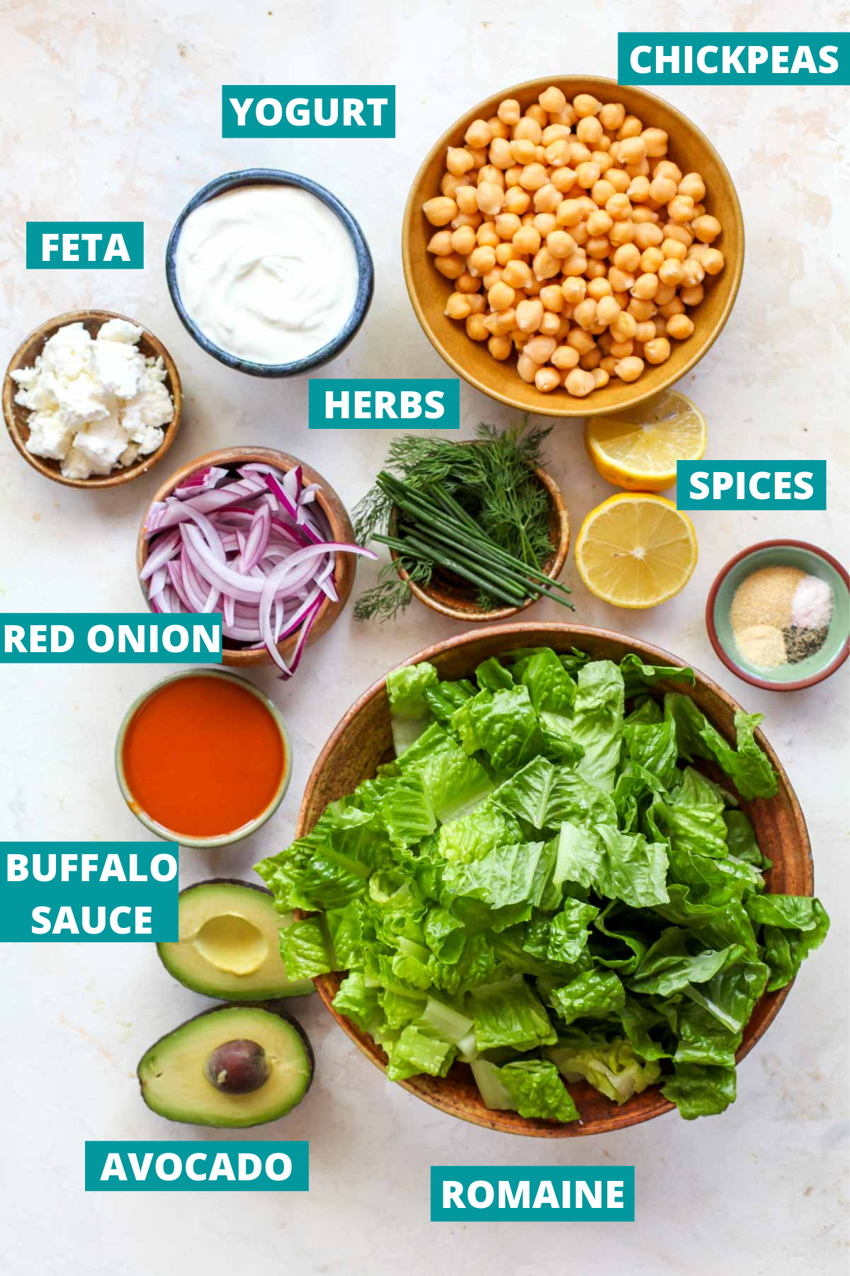 Chickpeas, lettuce, herbs, and avocado in separate bowls with blue ingredient labels