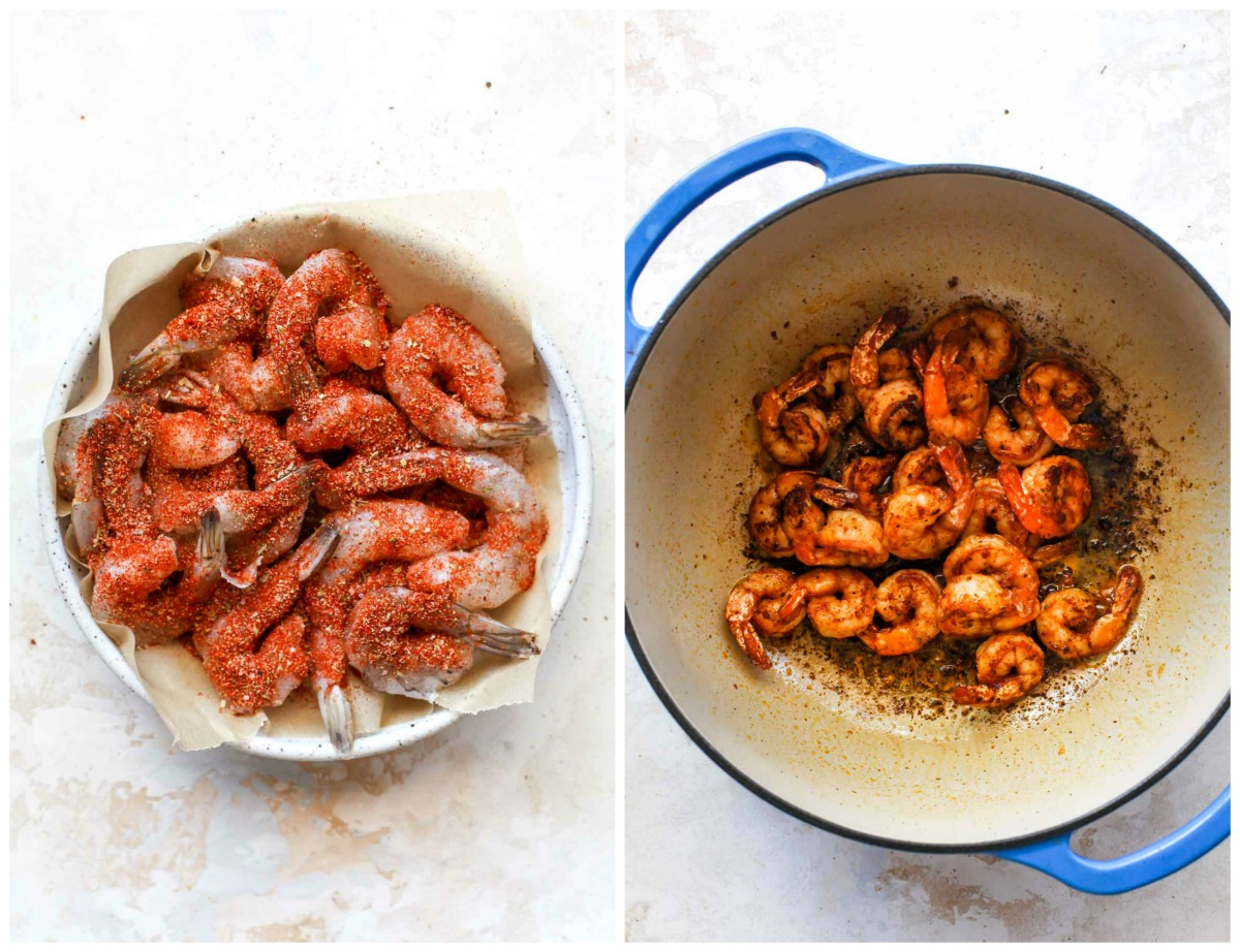 Shrimp covered in Cajun spices being simmered in a blue pot
