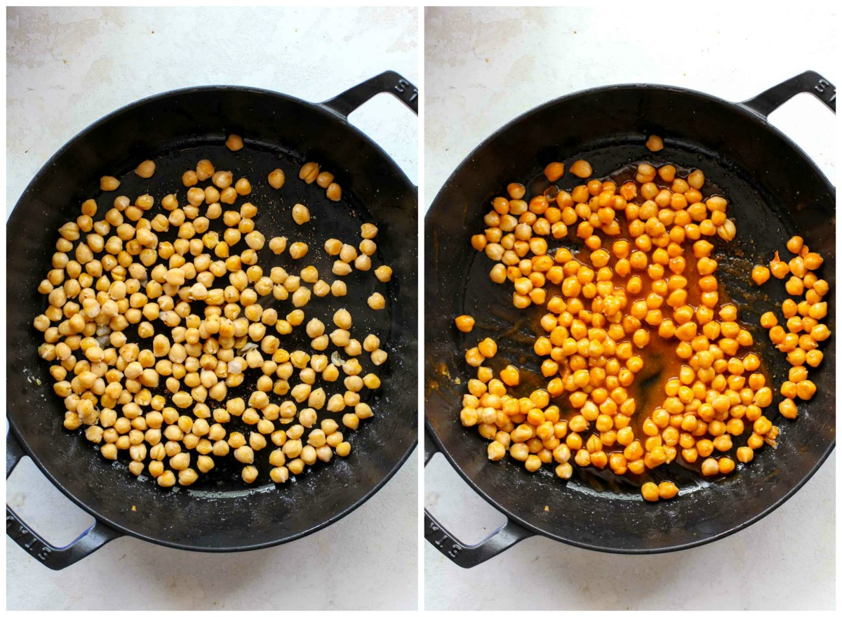 Chickpeas cooking in a large black skillet