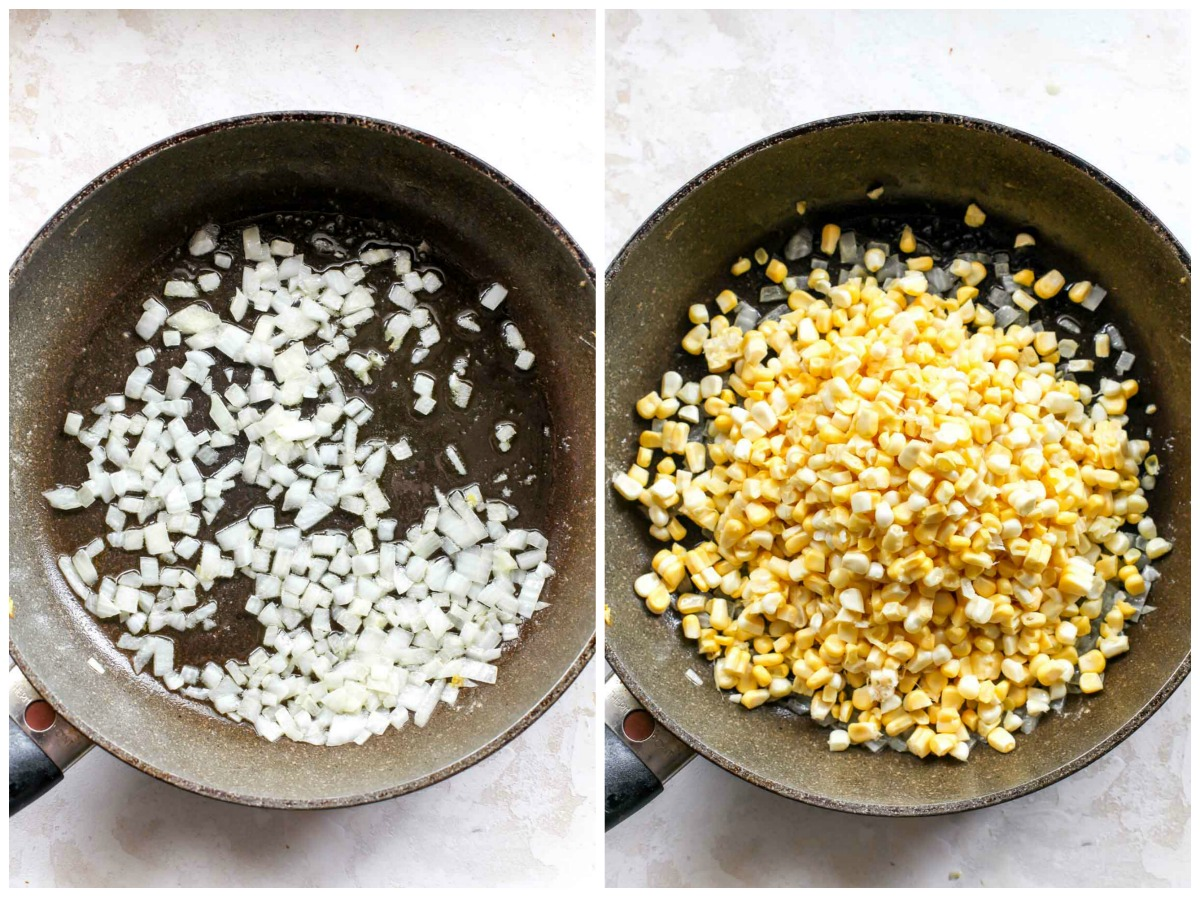 Black skillet cooking minced onion and corn kernels