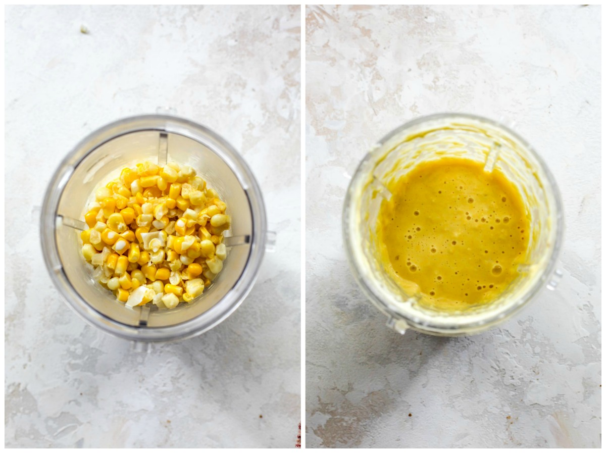 Mini blender filled with creamed corn mixture