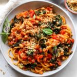 Spaghetti Pomodoro with kale, white beans, and garlicky breadcrumbs