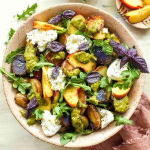 Crispy Potato & Peach Salad with Scallion Dressing