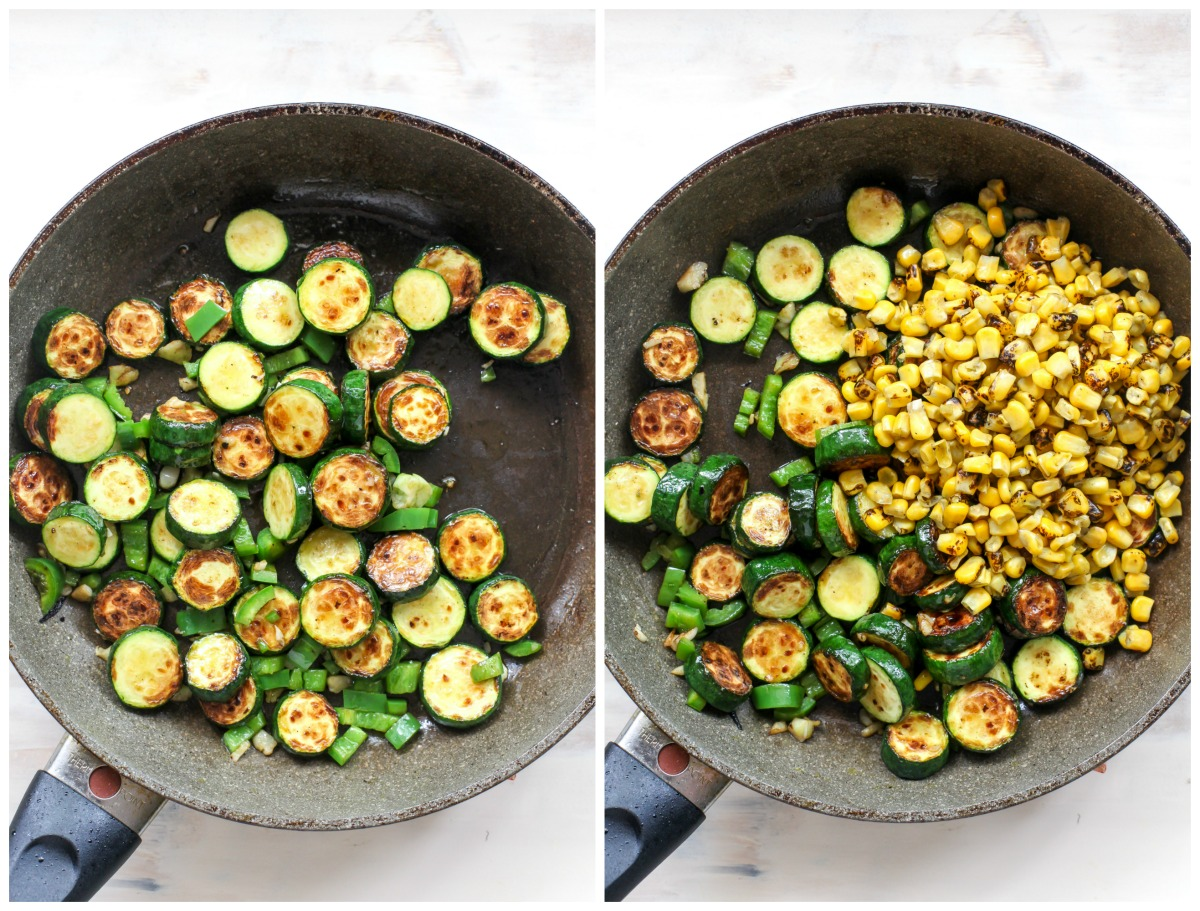 Zucchini, jalapeno, garlic, and corn cooking in a large black skillet