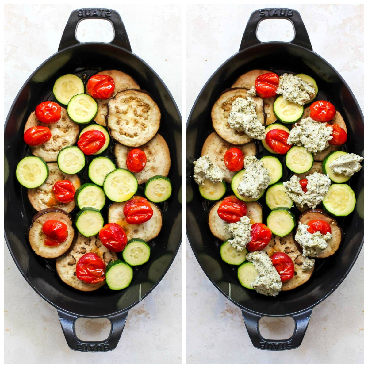 Eggplant, zucchini, and tomatoes layered in a black baking pan