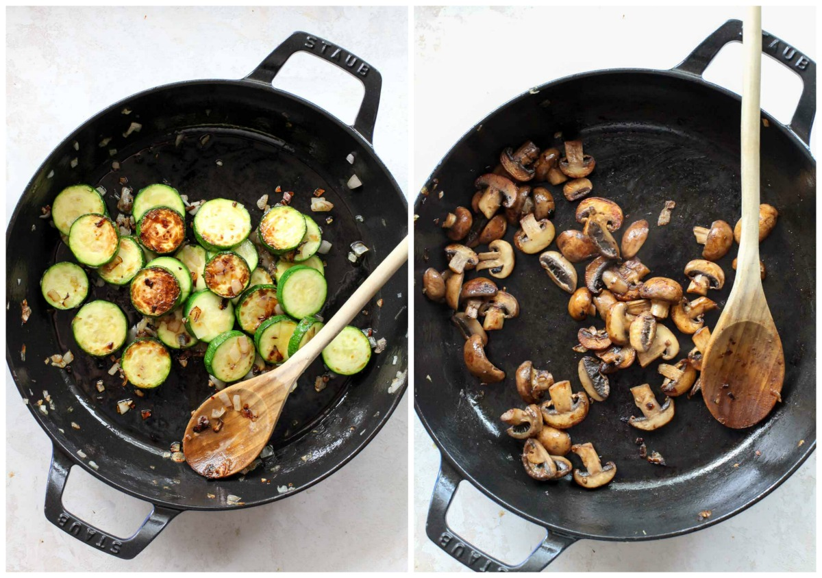 Zucchini and mushrooms sautéing in a large black skillet