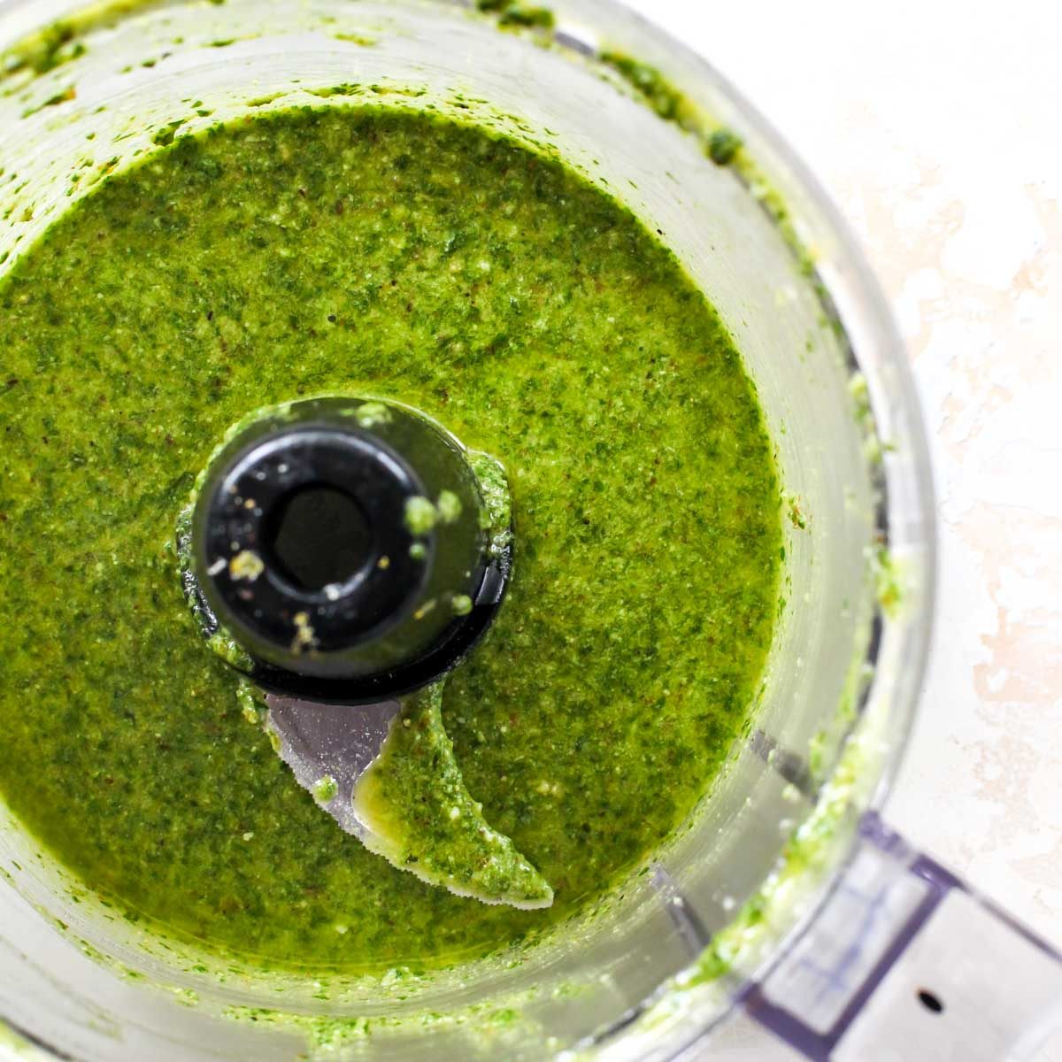 Pesto blended in a food processor