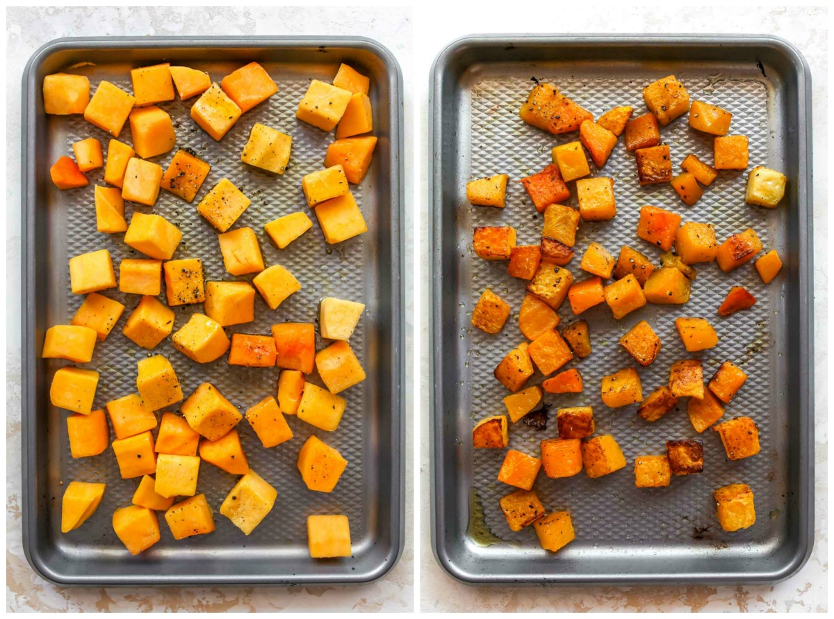 Cubed butternut squash roasted on a baking sheet