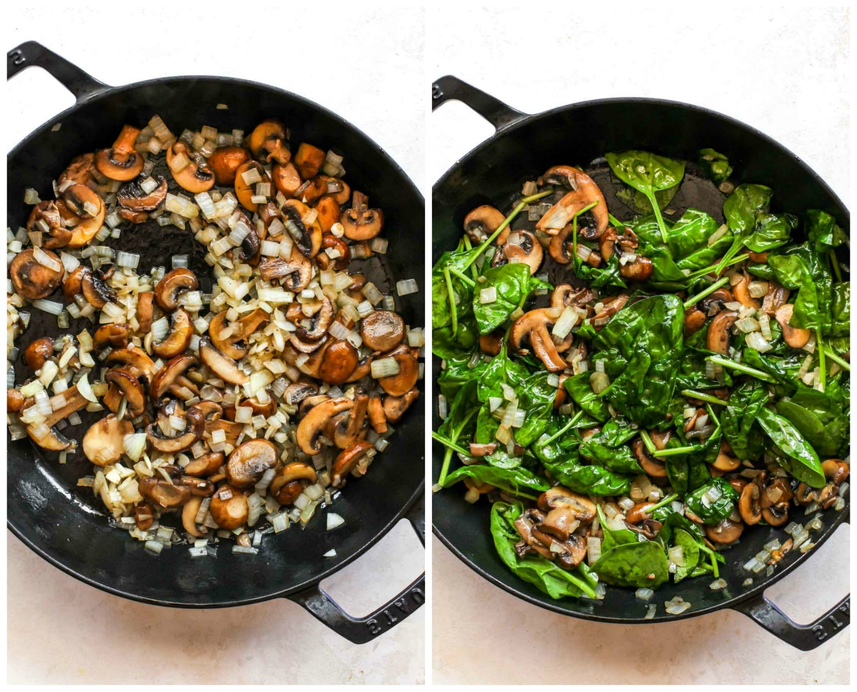 Mushrooms, onion, and spinach sautéing in a black skillet