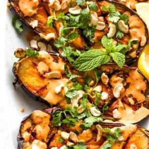 Roasted Eggplant with Harissa-Tahini Sauce