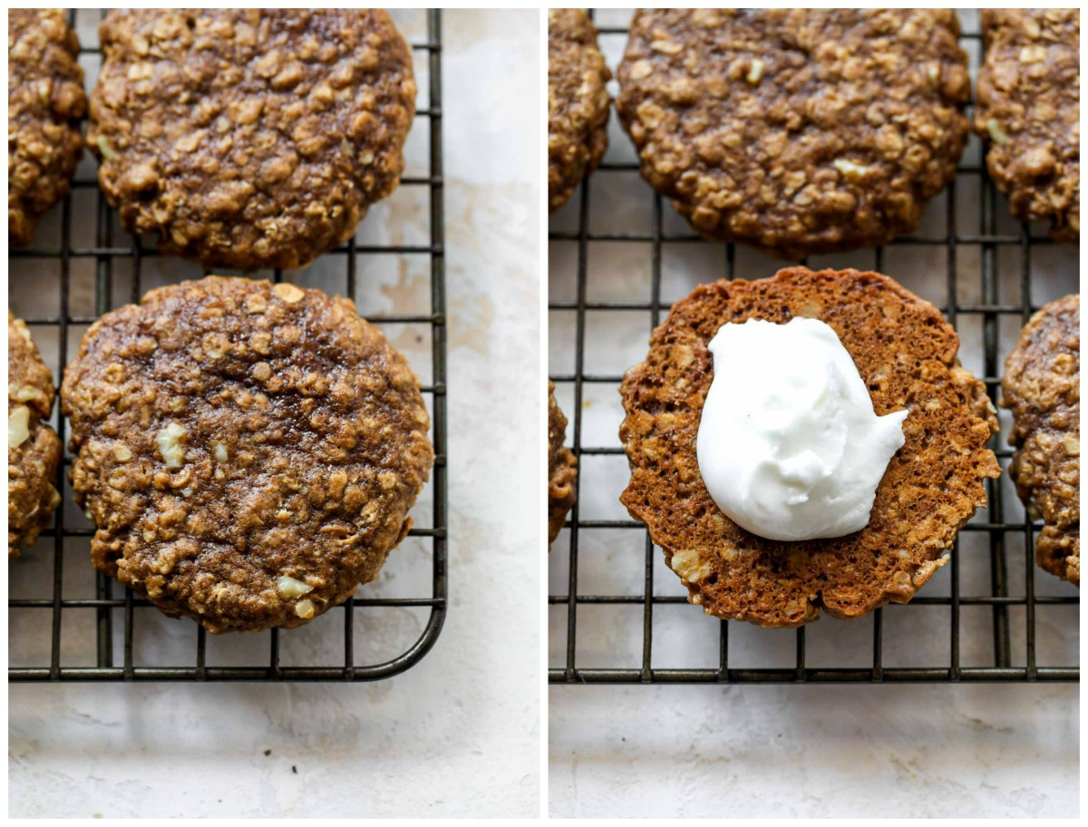 Oatmeal cookies on a cooling rack with a dollop of creme filling on top
