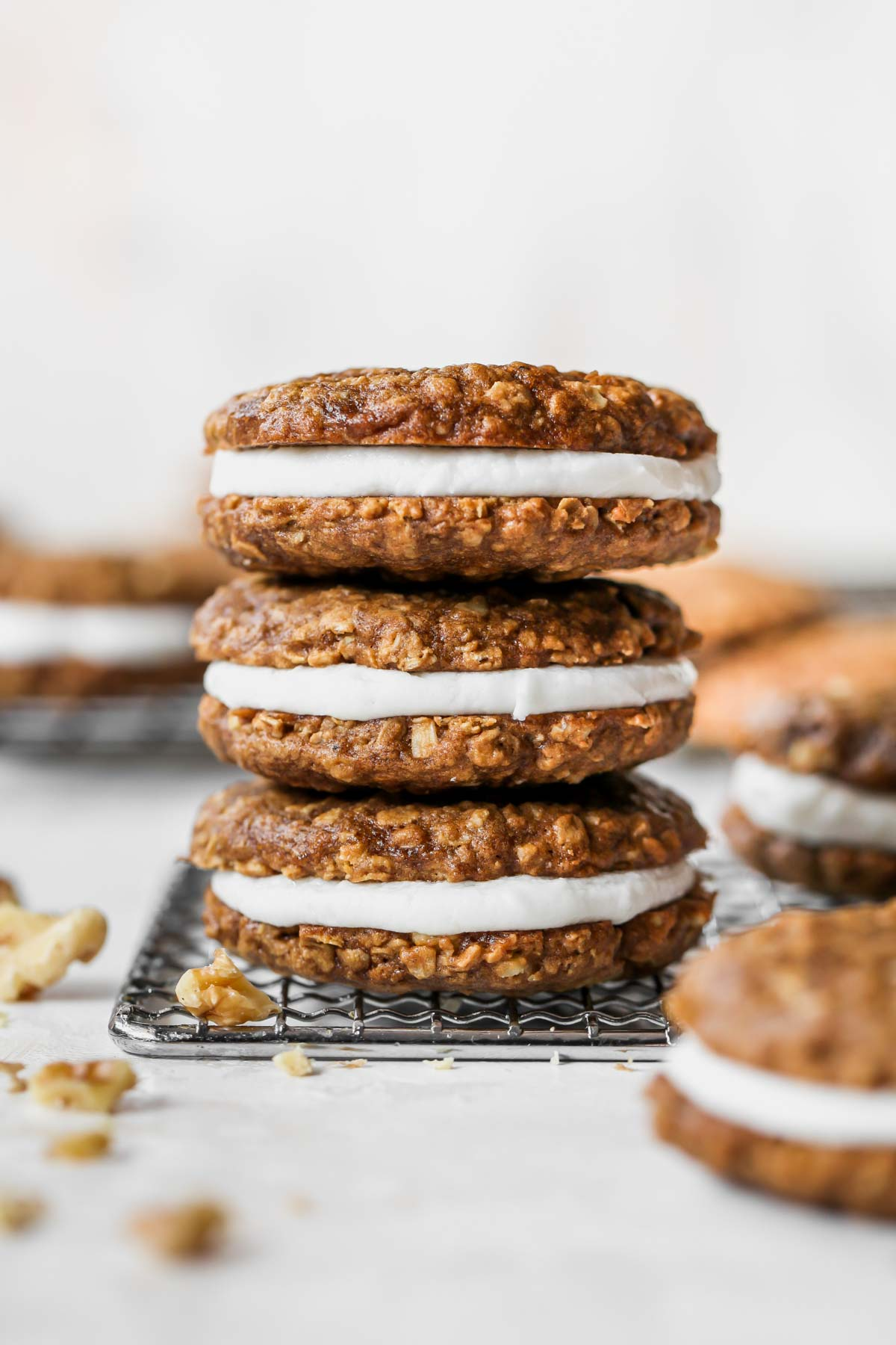 Three oatmeal creme pies stacked on top of each other