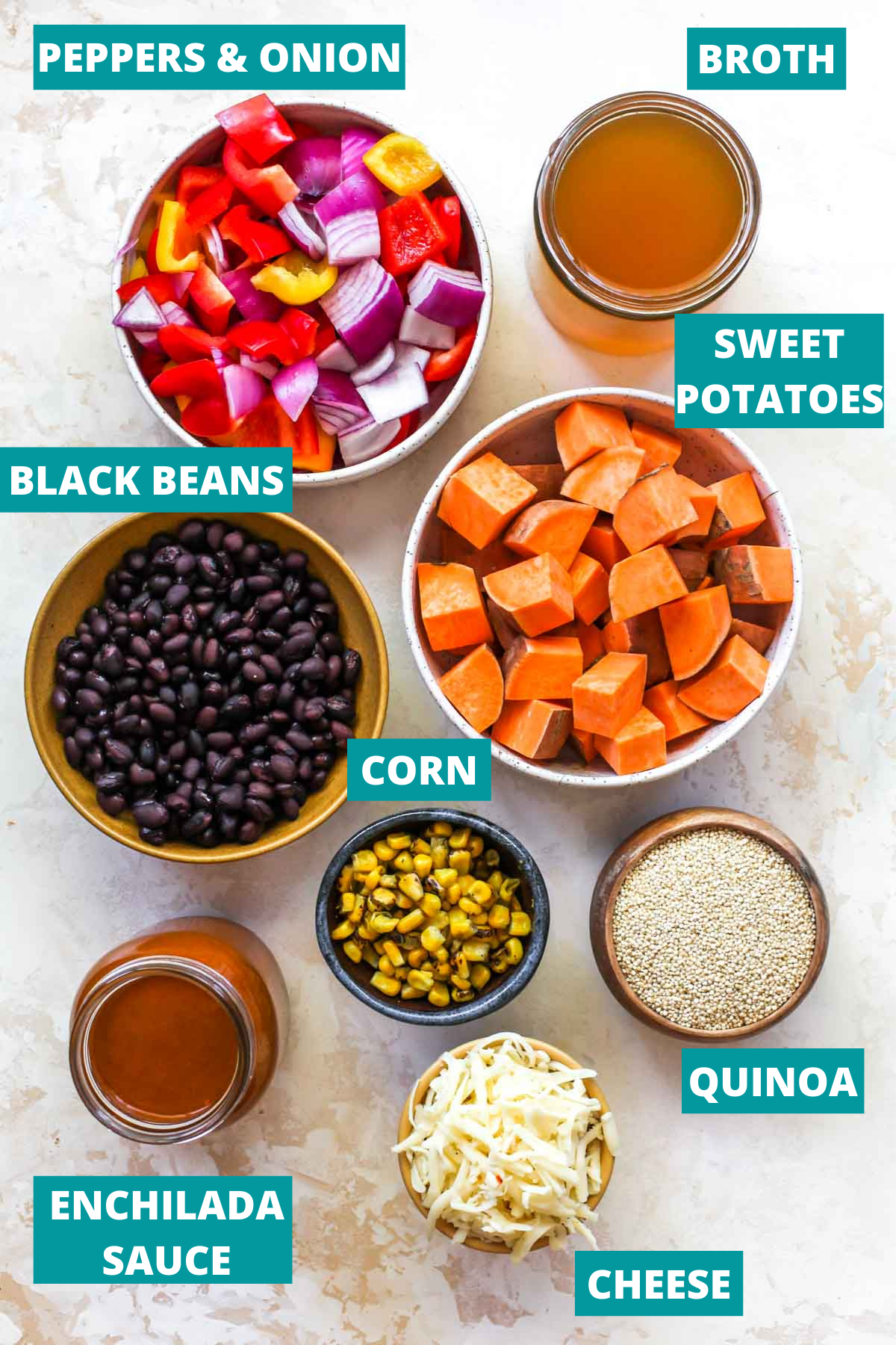 Sweet potatoes, peppers, beans, sauce, and quinoa in separate bowls with ingredient labels