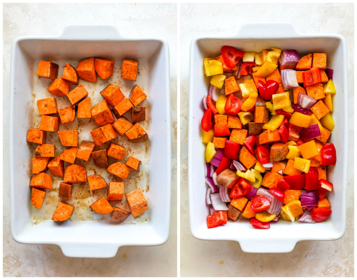 Sweet potatoes and bell peppers in a white pan tossed with oil and spices