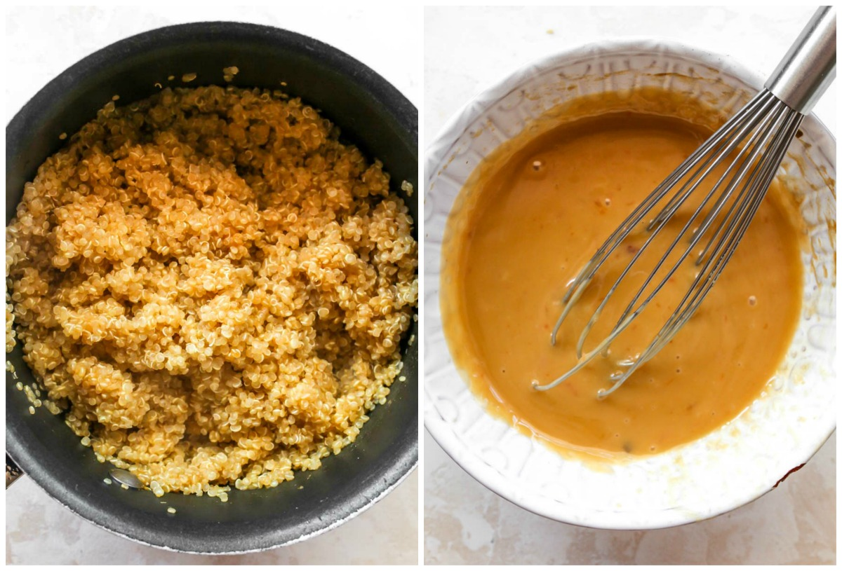 Quinoa cooked in a small saucepan; ginger dressing being whisked together
