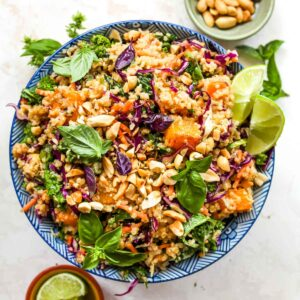 Quinoa and butternut squash salad with creamy ginger dressing