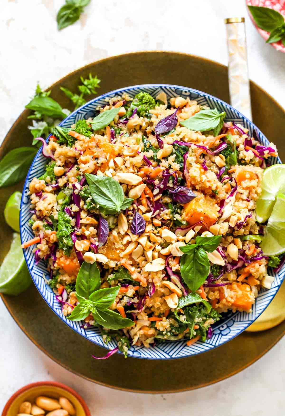 Thai Quinoa Salad with butternut squash, kale, and creamy ginger dressing