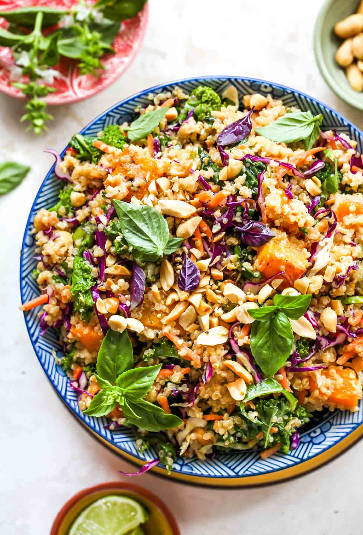 Quinoa and butternut squash salad topped with basil and peanuts