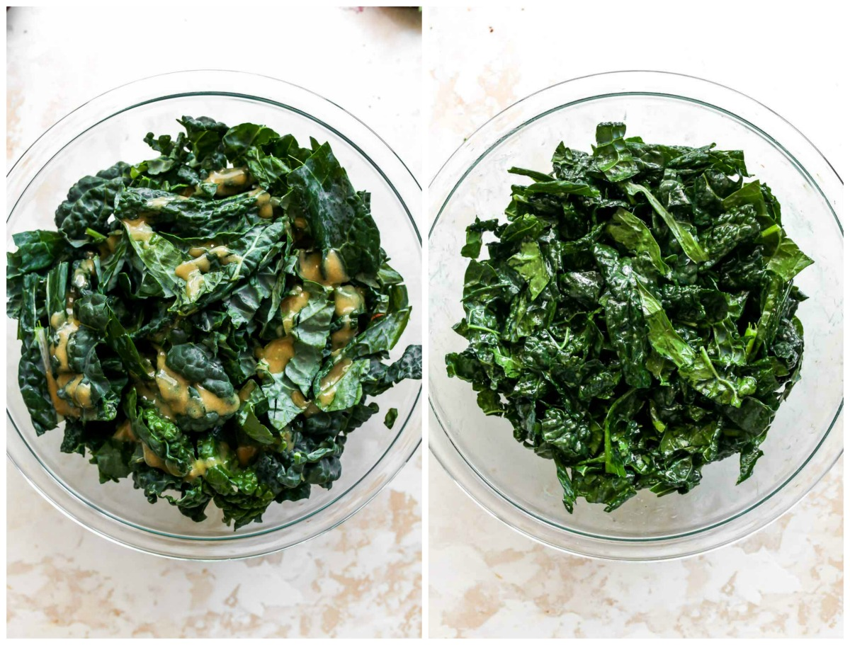 Dressing being massaged into kale