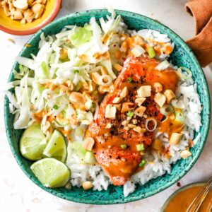 Salmon and rice bowls with peanut sauce
