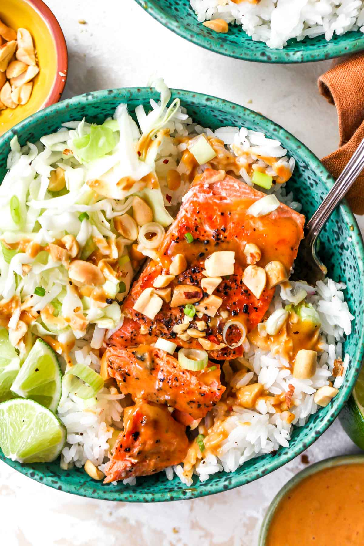 Salmon fillet with Jasmine rice and firecracker sauce