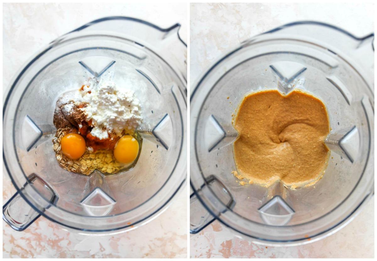 Pancake batter being blended in a blender