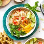 Thai Shrimp Noodle Salad with ginger dressing and sliced mango