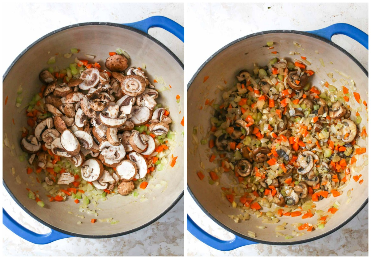 Mushrooms being added to mirepoix in a large blue pan