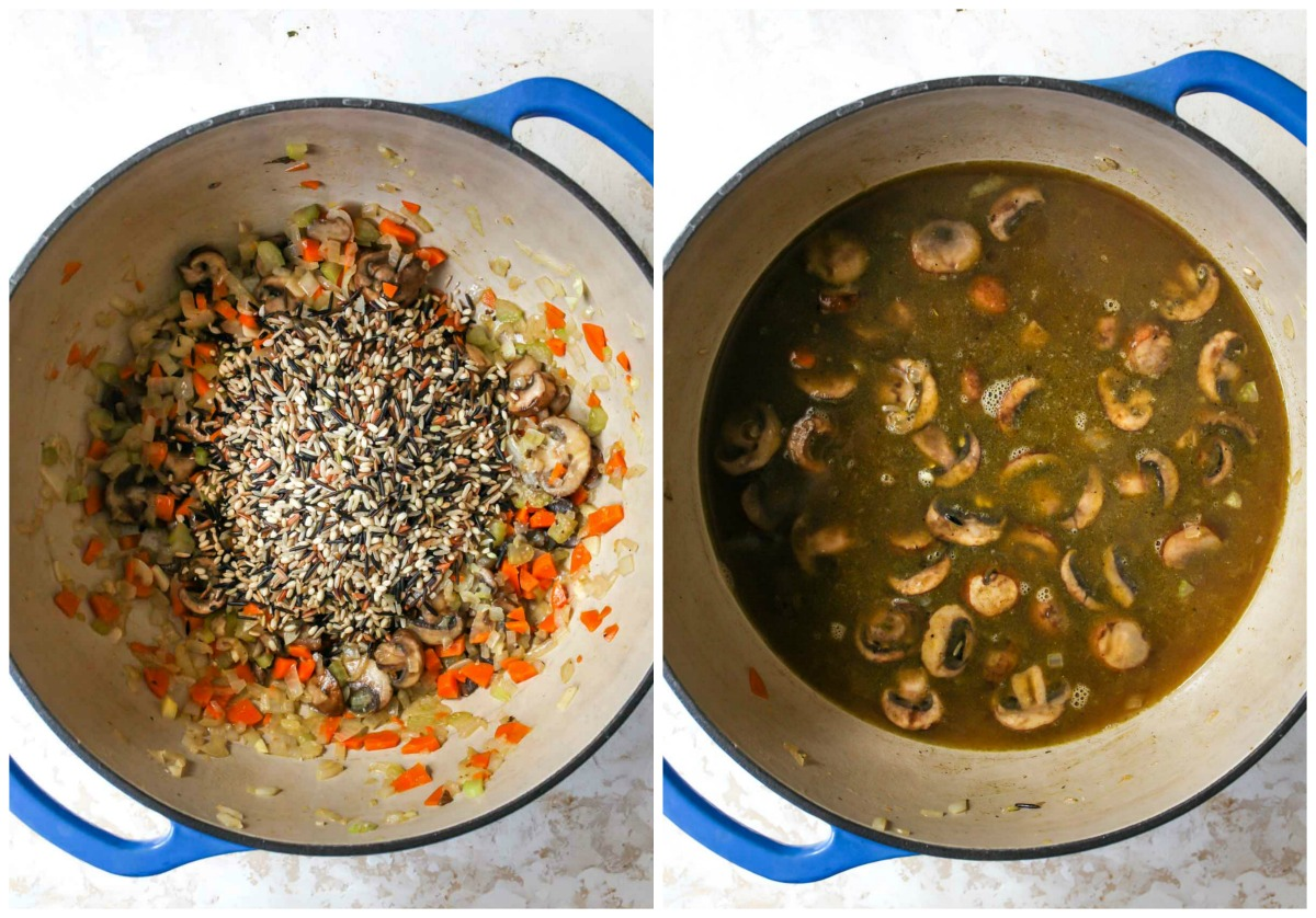 Wild rice being mixed into sauteed vegetable mixture