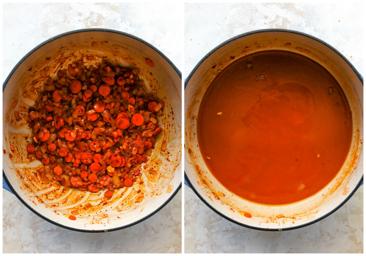 Curry paste, pumpkin puree, and broth being added to a stock pot