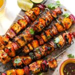 Chili lime veggie kebabs on a silver serving platter