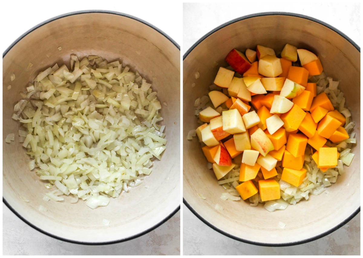 Onion, apple, and squash being sautéed in a Dutch oven