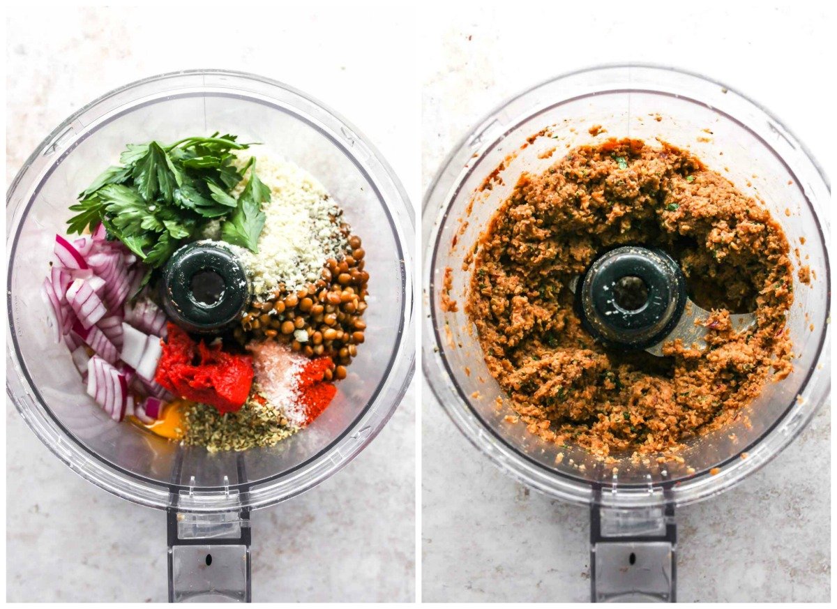 Lentils, breadcrumbs, onion, and herbs being blended in a food processor