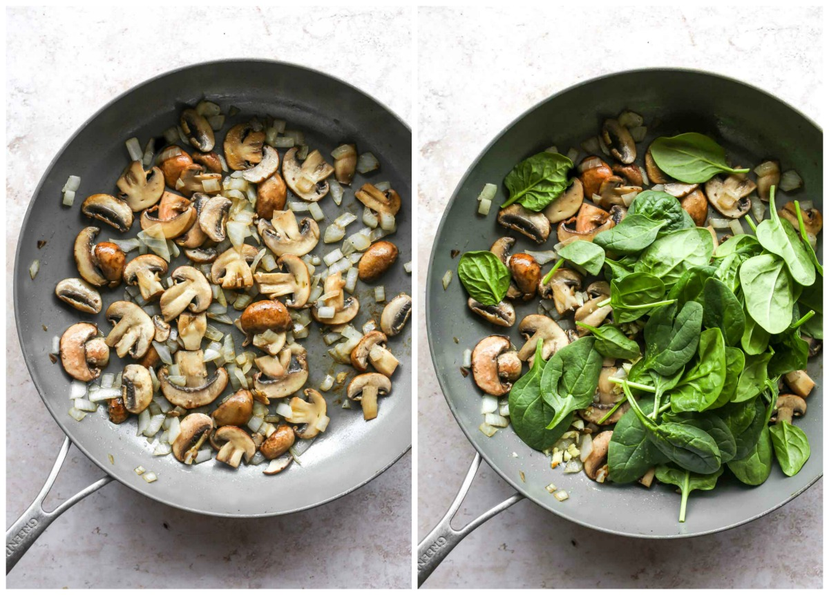 Mushrooms, shallots, and spinach cooking in a skillet