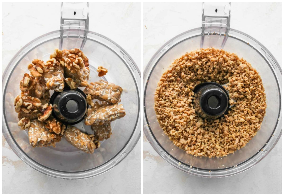 Tempeh and walnuts being blended in a food processor